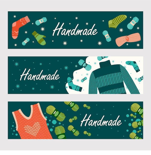 Set di banner di vestiti fatti a mano di inverno Vettore gratuito