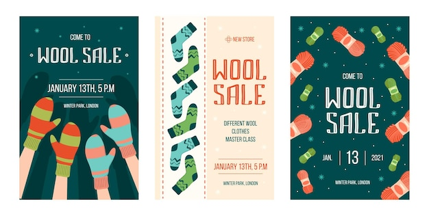 Winter handmade clothes sale flyers set Free Vector
