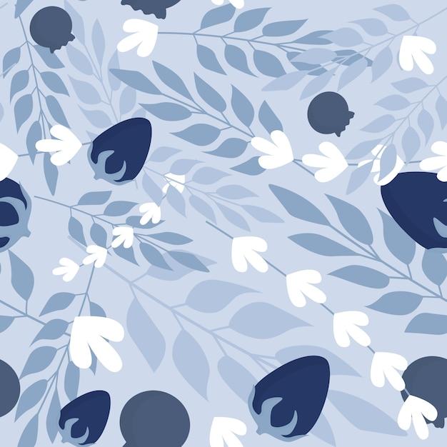 Winter herbal leaves and wild berries seamless pattern. Premium Vector
