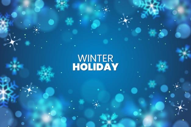 Зимний праздник фон с размытыми элементами Premium векторы