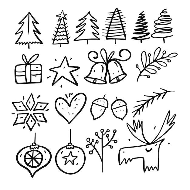 Набор элементов зимнего отдыха. стиль каракули. мультяшная рука рисовать окраску. изолированные на белом фоне. Premium векторы