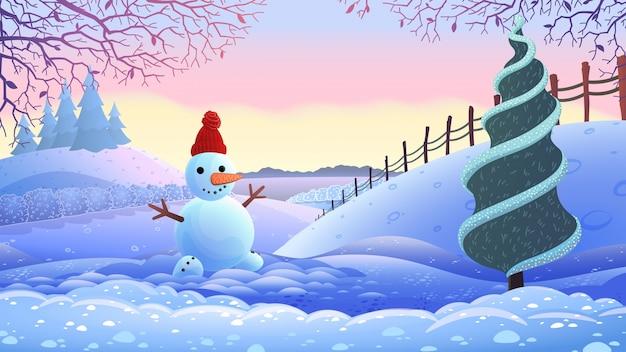 winter holiday landscape. vector illustration. Premium Vector