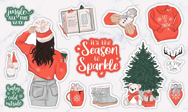 Winter holiday planner stickers with a girl, quotes and objects Premium Vector