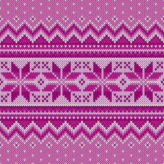 Зимний праздник бесшовные вязание узор. вязаный свитер fair isle. рождественский фон Premium векторы