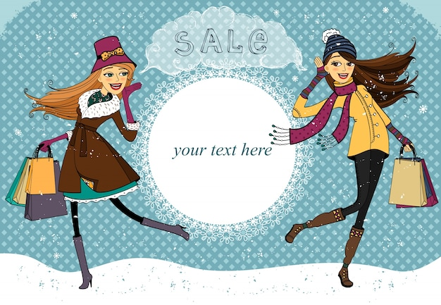 Winter holiday shopping promo Free Vector