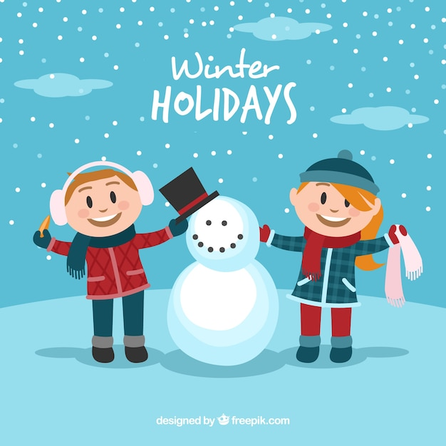 Winter holidays background with two children\ and a snowman