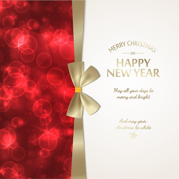 Winter holidays greeting poster with festive golden text and ribbon bow on red glowing blurred background vector illustration Free Vector