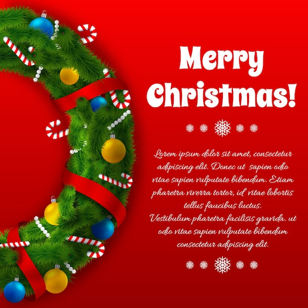 Winter holidays greeting template with green wreath text and festive decorations on red Free Vector