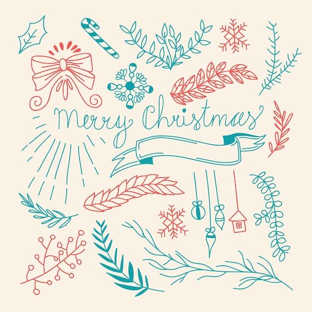 冬の休日のエレガントな木の枝とクリスマスの要素を持つ自然な手描きテンプレート Premiumベクター