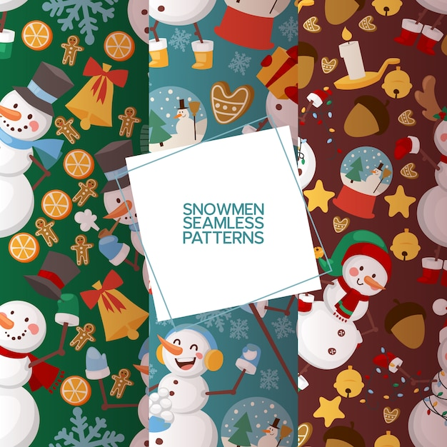 Winter holidays snowman set of seamless patterns vector illustration. cheerful snowmen in different costumes and outfits. Premium Vector