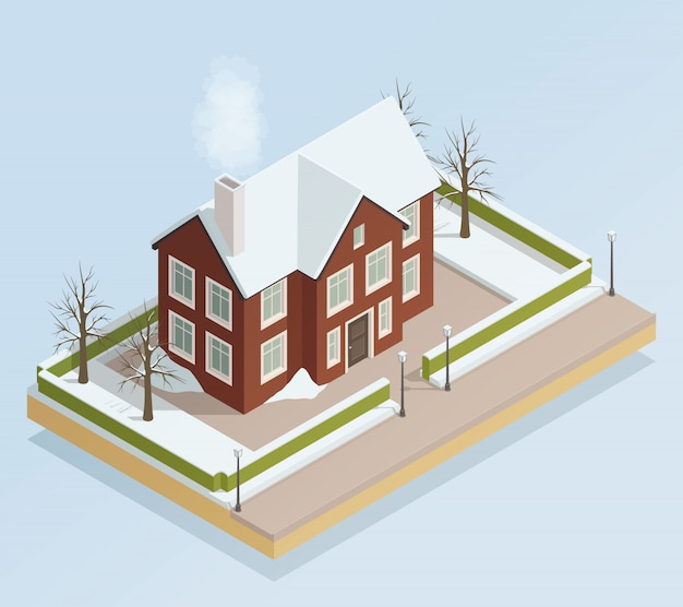 Winter house outdoor isometric view Free Vector