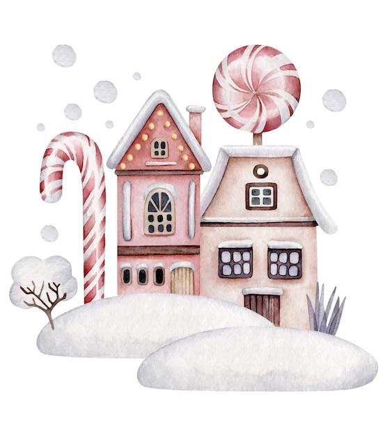 冬の家。家、キャンディー、雪とクリスマスの構成 Premiumベクター
