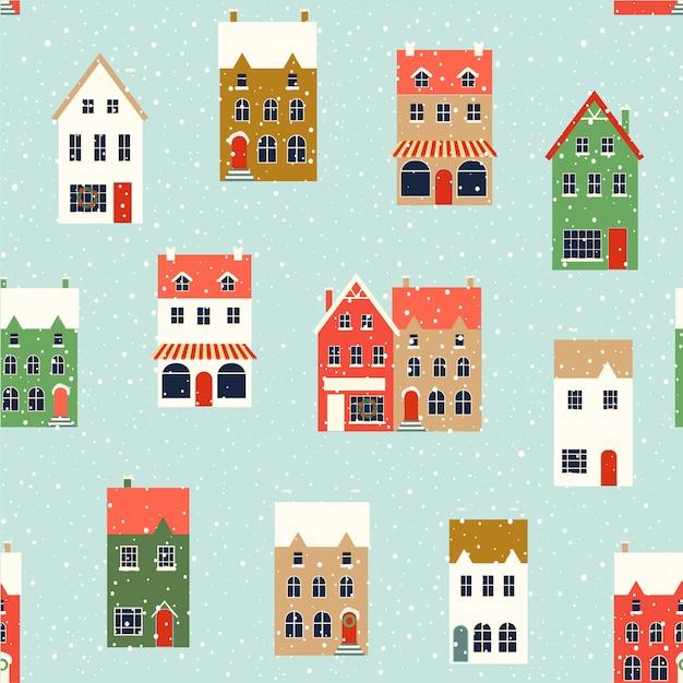 Winter houses. christmas fabrics and decor. seamless pattern. Premium Vector