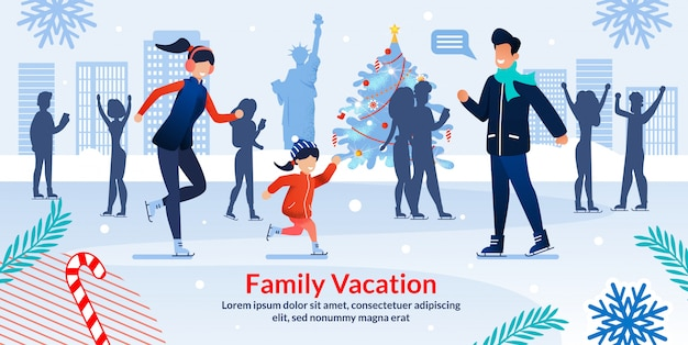 Winter ice skating in central park new york banner Premium Vector