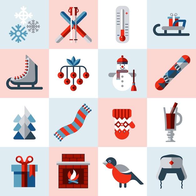 Winter icons set Free Vector
