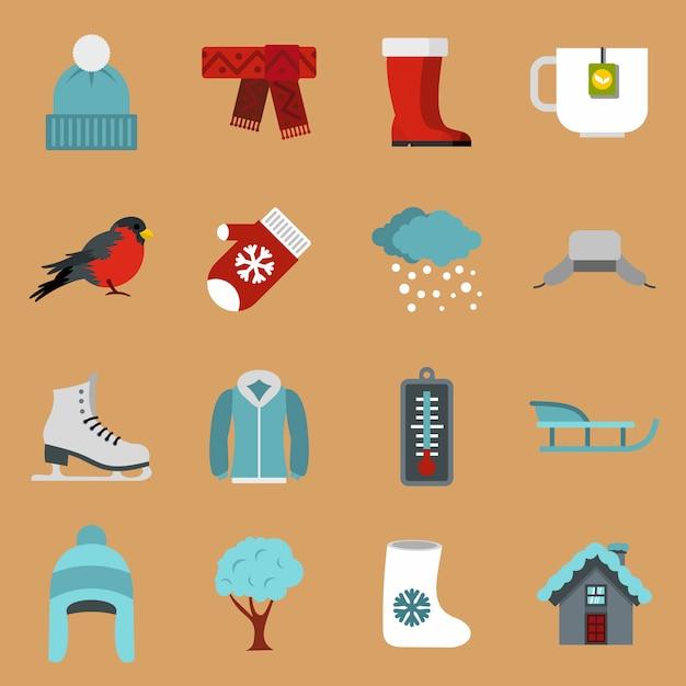 Winter icons set Premium Vector