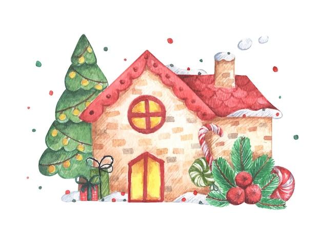 白い背景の上の家と冬のイラスト。招待状、挨拶、休日、装飾用の水彩画のクリスマスカード。 Premiumベクター