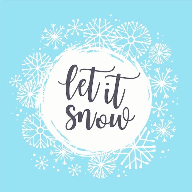 winter illustration with snowflakes vector premium download. Black Bedroom Furniture Sets. Home Design Ideas