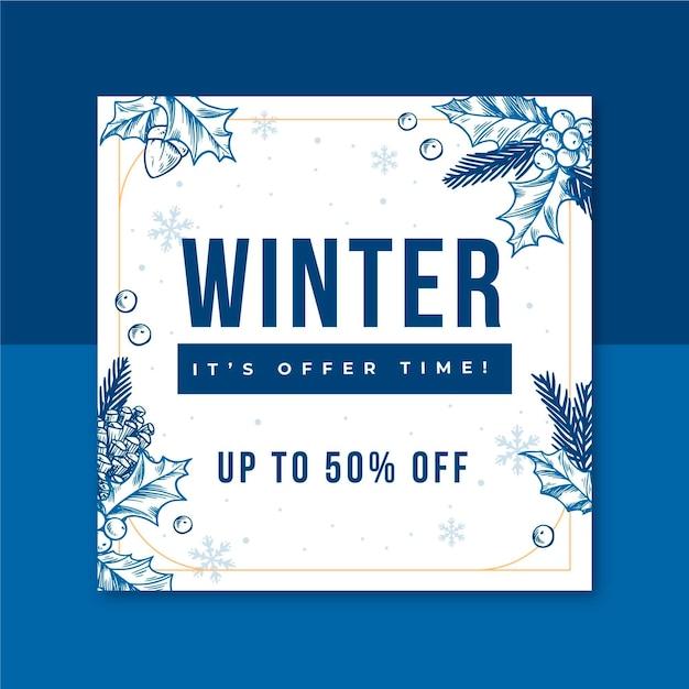 Modello di post instagram invernale illustrato Vettore gratuito