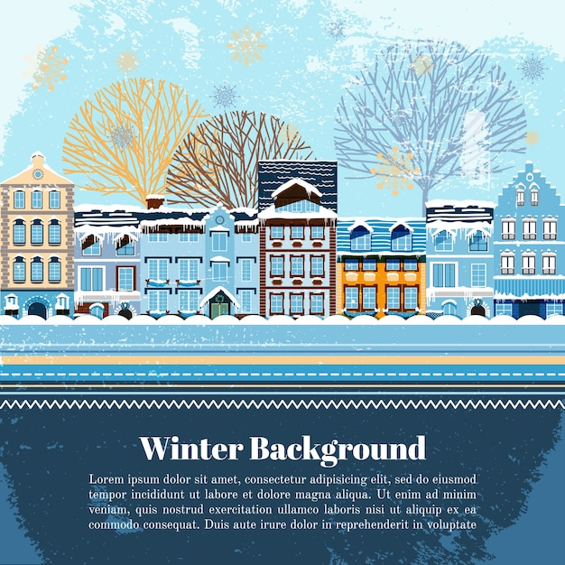 Winter postcard vector template with skis in the snow and.
