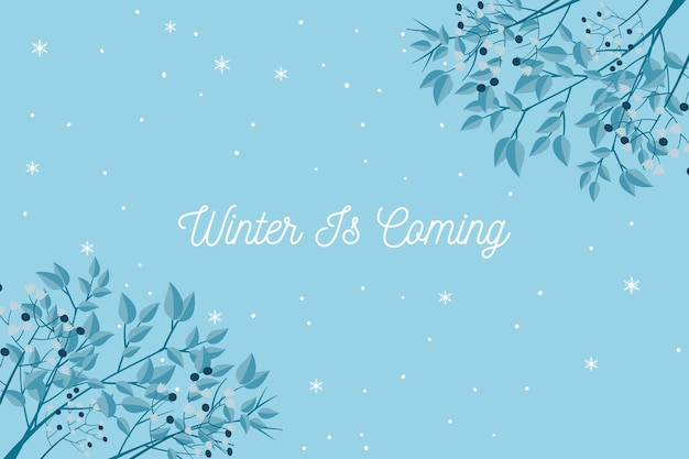 Winter is coming text on blue background Free Vector