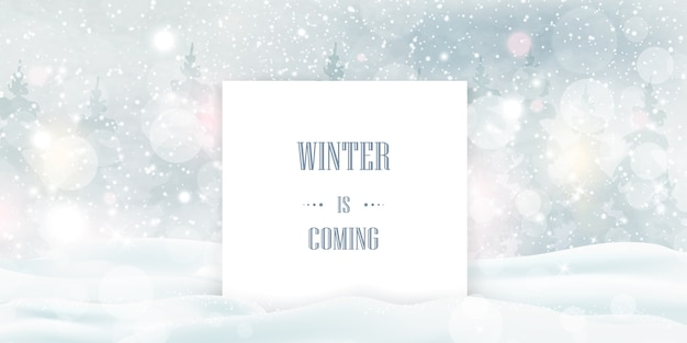 Winter is coming, text over heavy snowfall, snowflakes in different shapes and forms, snowdrifts. winter landscape with falling snow. Premium Vector