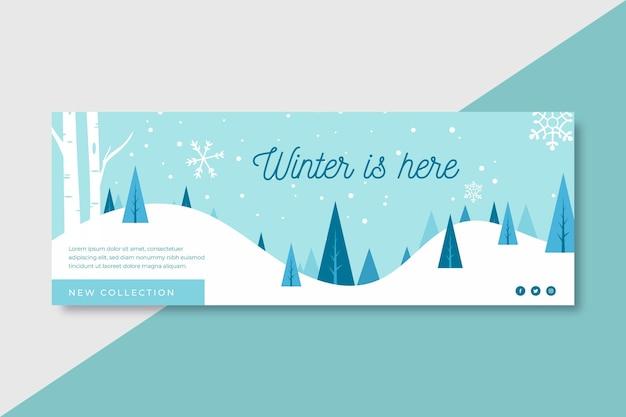 冬はここにありますfacebook表紙のテンプレート Premiumベクター