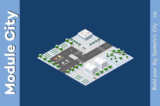 Winter isometric city Premium Vector