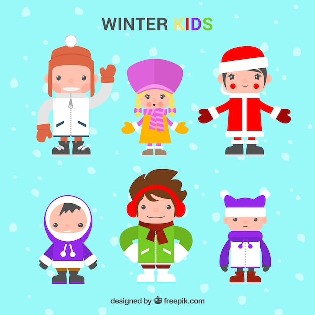 Winter kids collection in colourful clothes