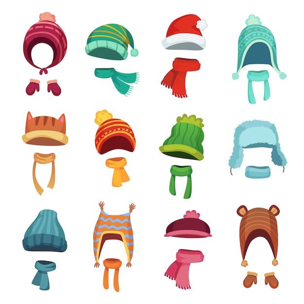 Winter kids hats. warm childrens headwear and scarves. cartoon set Premium Vector