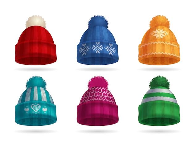 Зимняя вязаная шапка реалистичный комплект с изолированными шапка и перчатки Бесплатные векторы