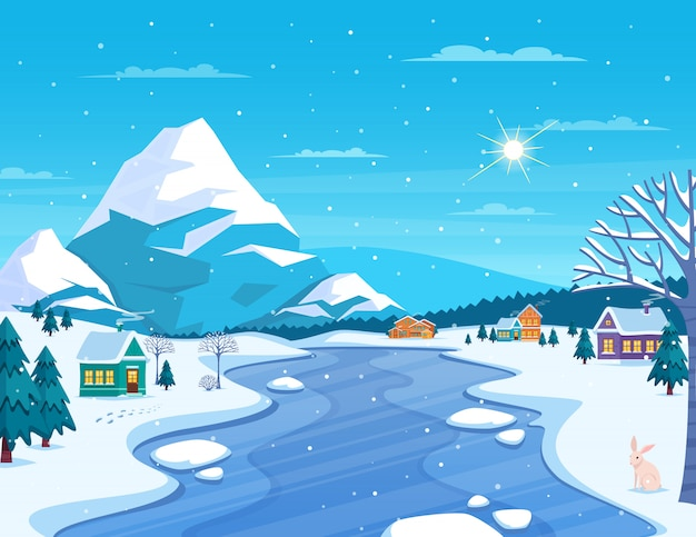 겨울 풍경과 마을 그림 무료 벡터