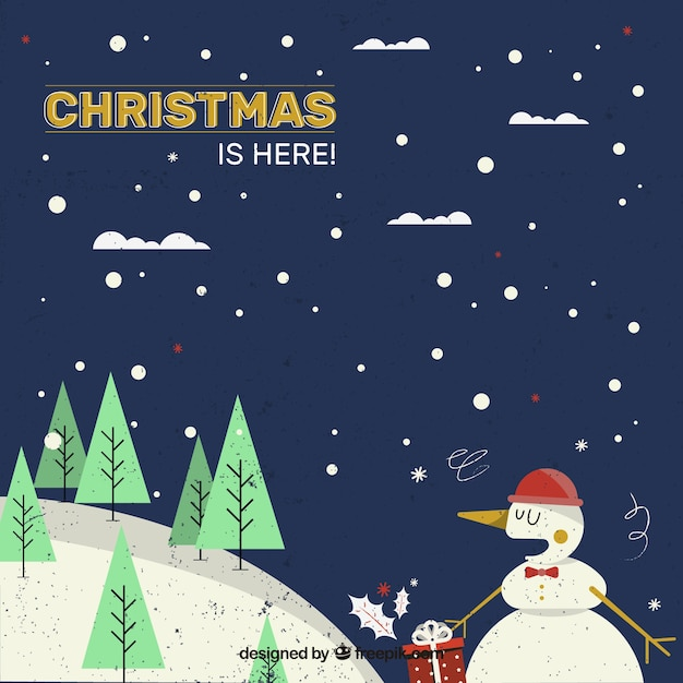 Winter landscape background with a\ snowman