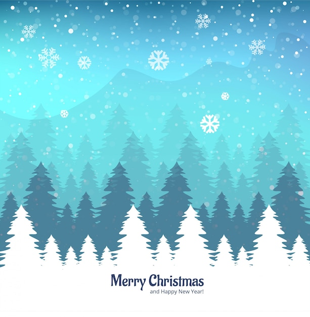 Winter landscape background with falling snow Free Vector