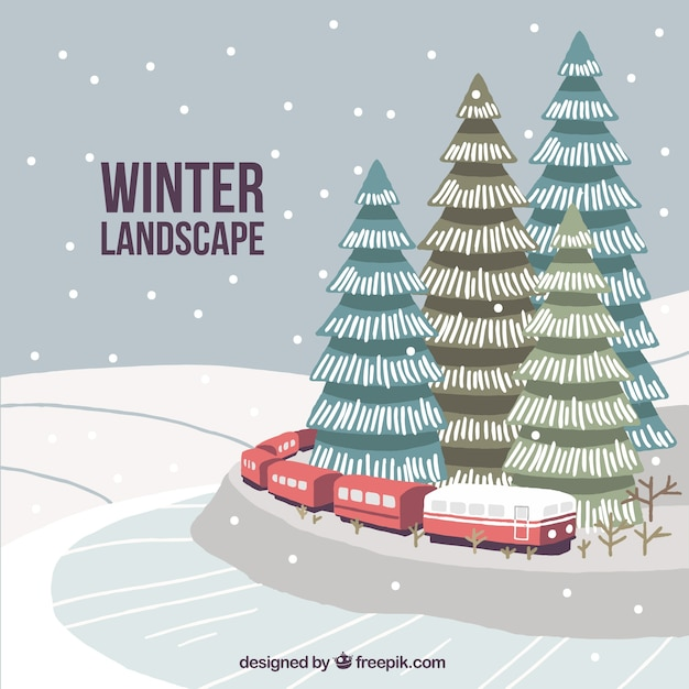 Winter landscape background with hand drawn\ train