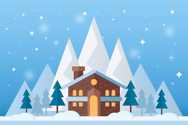 山の家と冬の風景の背景 無料ベクター