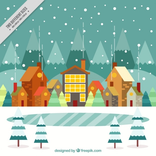 Winter landscape background with houses in flat\ design