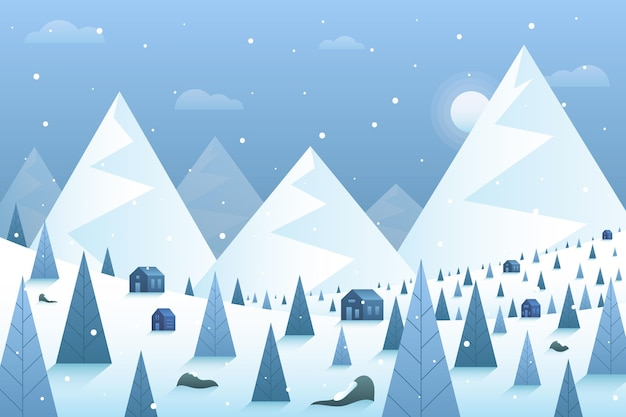 山と冬の風景の背景 Premiumベクター