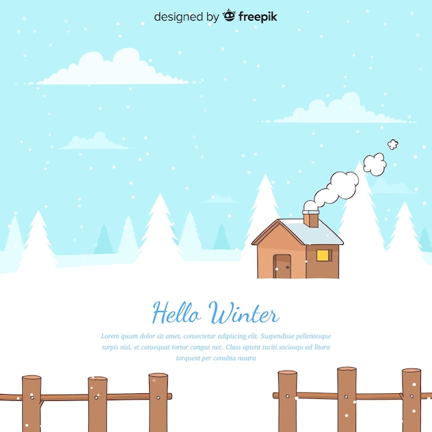 Winter landscape background Free Vector