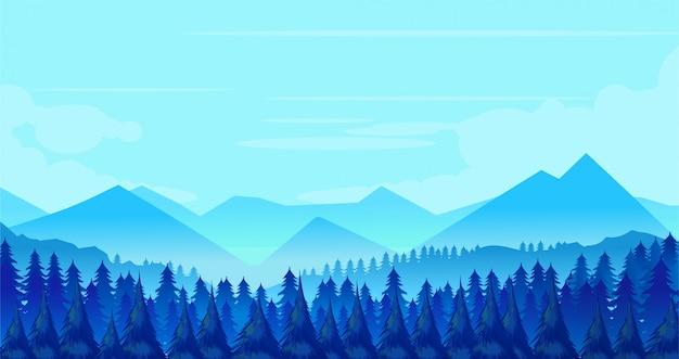 Winter landscape background Premium Vector