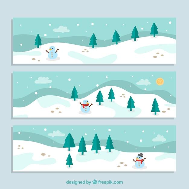 Winter landscape banners