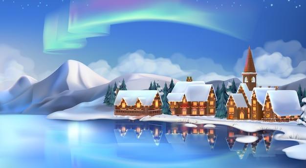 冬の風景。クリスマスのコテージ。お祝いのクリスマスデコレーション。 Premiumベクター