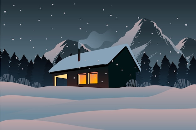 Winter landscape concept in hand drawn Free Vector