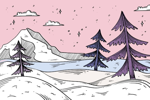 Winter landscape concept in hand drawn Free Vector