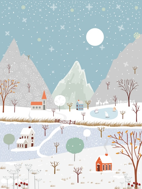 Winter landscape at countryside Premium Vector