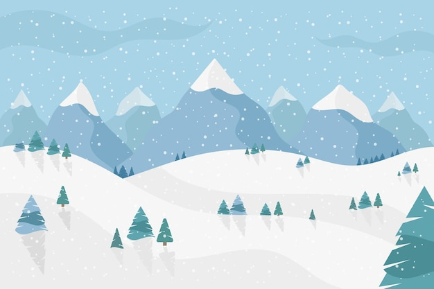 Winter landscape in flat design Free Vector