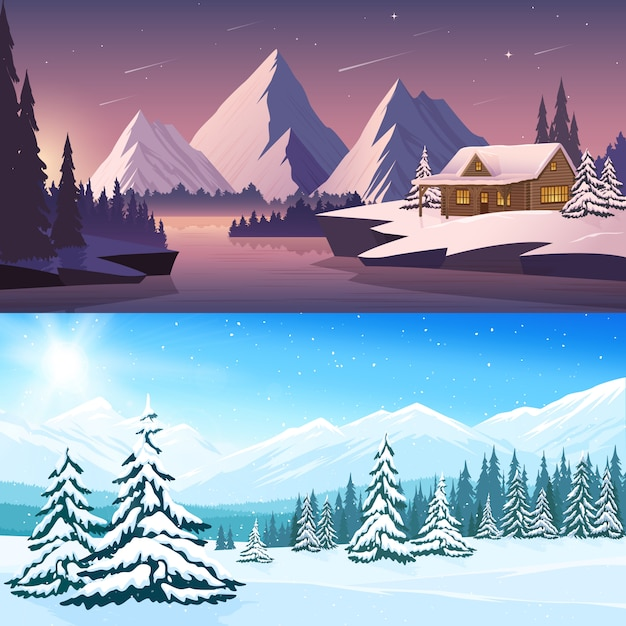 Winter landscape horizontal banners with house river mountains and trees in the day and night time Free Vector