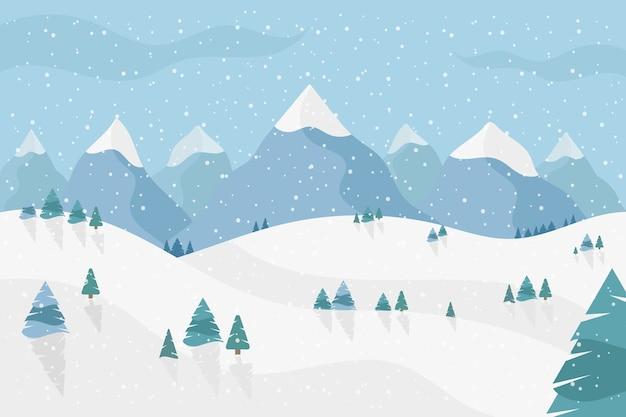 Зимний пейзаж в плоском дизайне Premium векторы