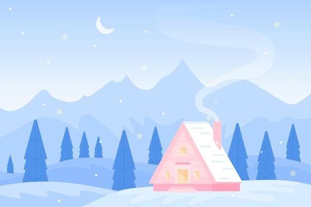 평면 디자인의 겨울 풍경 프리미엄 벡터