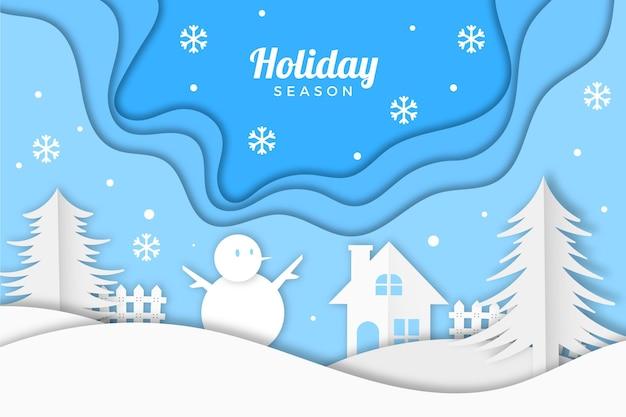 紙のスタイルの壁紙の冬の風景 無料ベクター